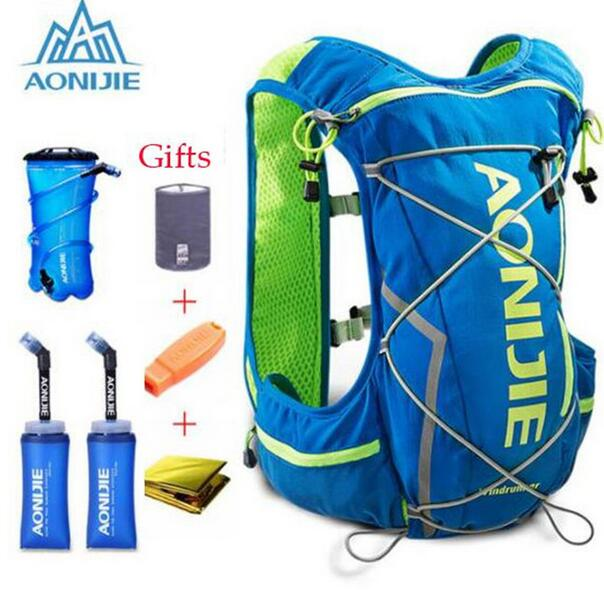 AONIJIE Men Women 10L Outdoor Bags Hiking Backpack Vest Marathon Running Cycling Backpack Optional Bottle Water