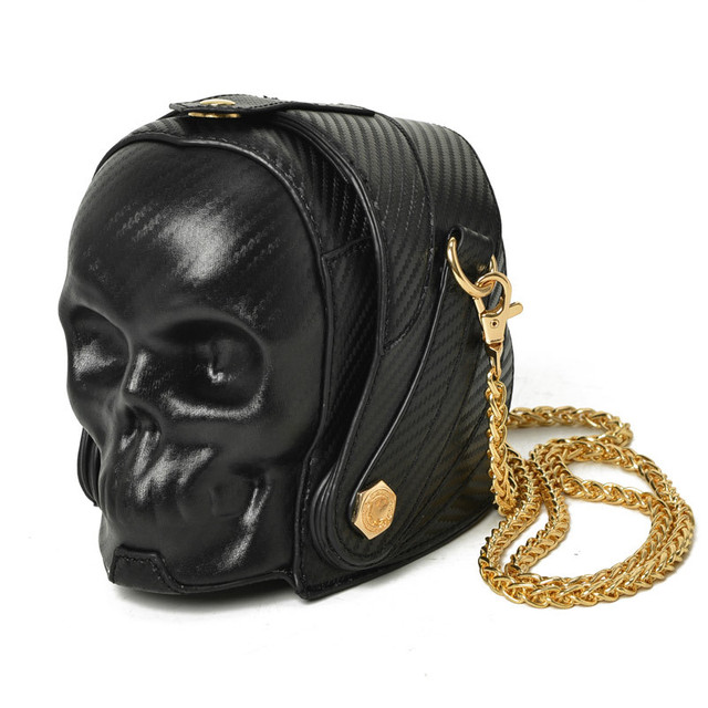 New Fashion Gothic Retro Rock  Skull Bag Halloween Women Messenger Bags Black And Gold Women Mobile Phone Shoulder Bags