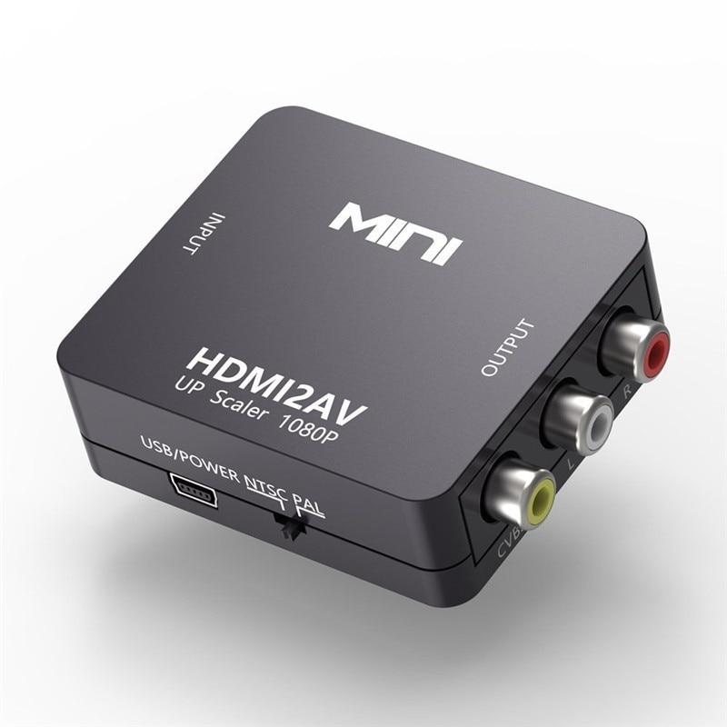 HDMI TO AV Scaler Adapter Mini HD Video Converter Box HDMI to RCA AV/CVSB L/R Video 1080P HDMI2AV Support NTSC PAL Output