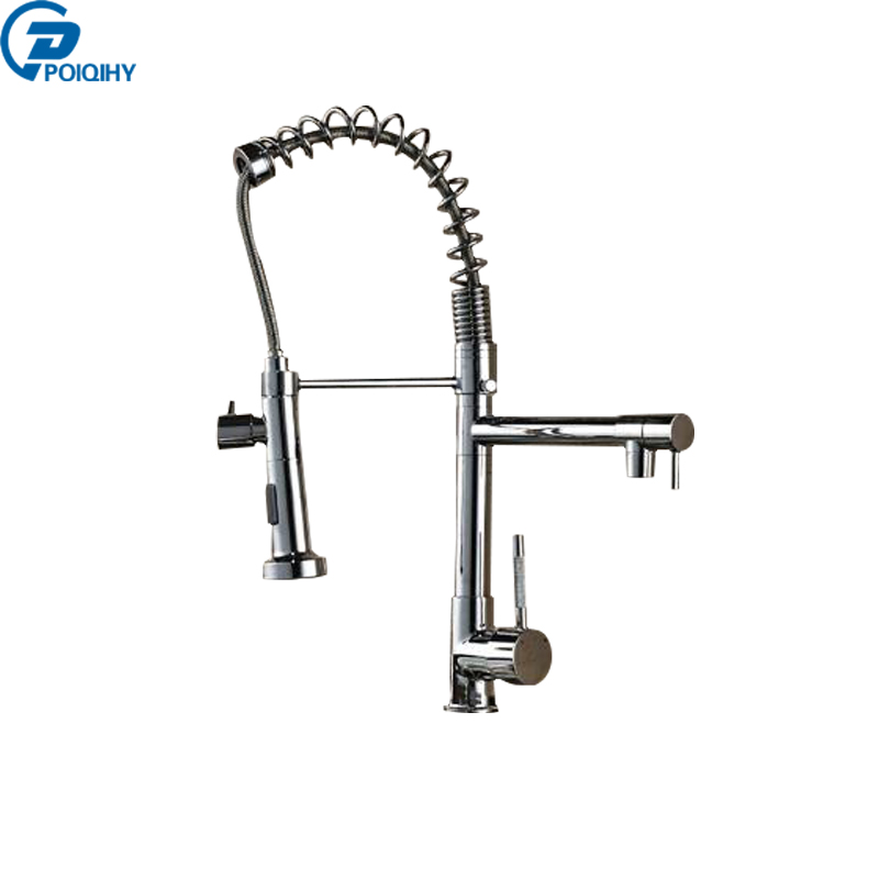 POIQIHY chrome single lever spring pull down sprayer Deck Mounted Kitchen Sink Mixer Taps with cold