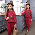 Children Girls clothing set autumn teenage girls sport suit embroidery Rose school kids clothes tracksuit 4~13 T girls clothes