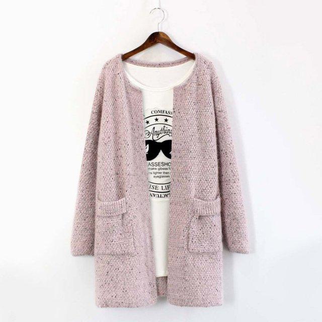 2016 Otoño Invierno Cardigan Mujeres Suéter de Punto de Manga Larga Outwear Casual