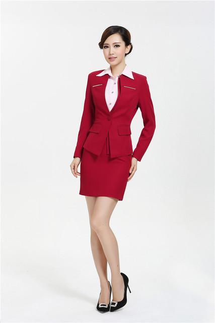 Nova Plus Size 2015 Femininos moda profissional fino carreira de negócios se adapte saia e casaco uniformes de estética conjunto de escritório
