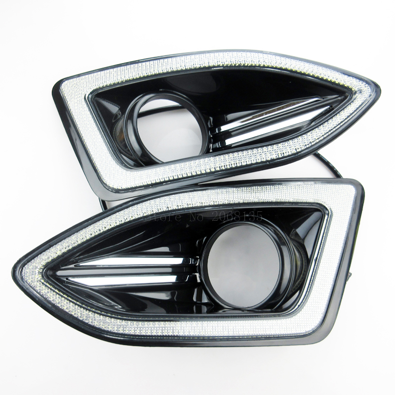 Новая выключить и затемнения реле стиль 12В СИД DRL автомобиля дневные ходовые огни с противотуманных фар отверстие для Форд край 2015