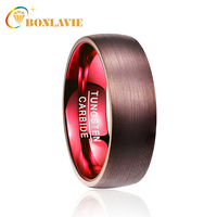 BONLAVIE Cool 100% Tungsten Ring Plating Brown Surface Red Liner Engagement Wedding Brands Men Women Rings Jewelry Wholesale