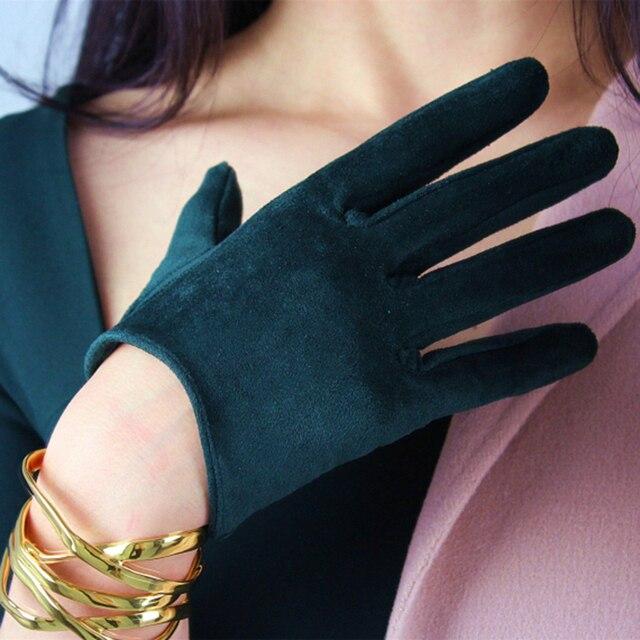 Guantes de ante de estilo corto para mujer, de 16cm mate guantes de piel de ante, manoplas de cuero de simulación para fiesta de baile, JP16