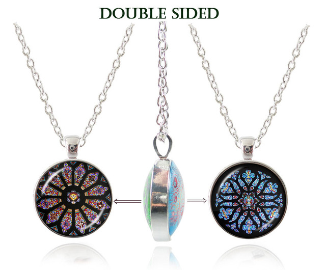 Double sided purple and blue notre dame de paris stained glass double sided purple and blue notre dame de paris stained glass pendants mandala necklace religion christian aloadofball Choice Image