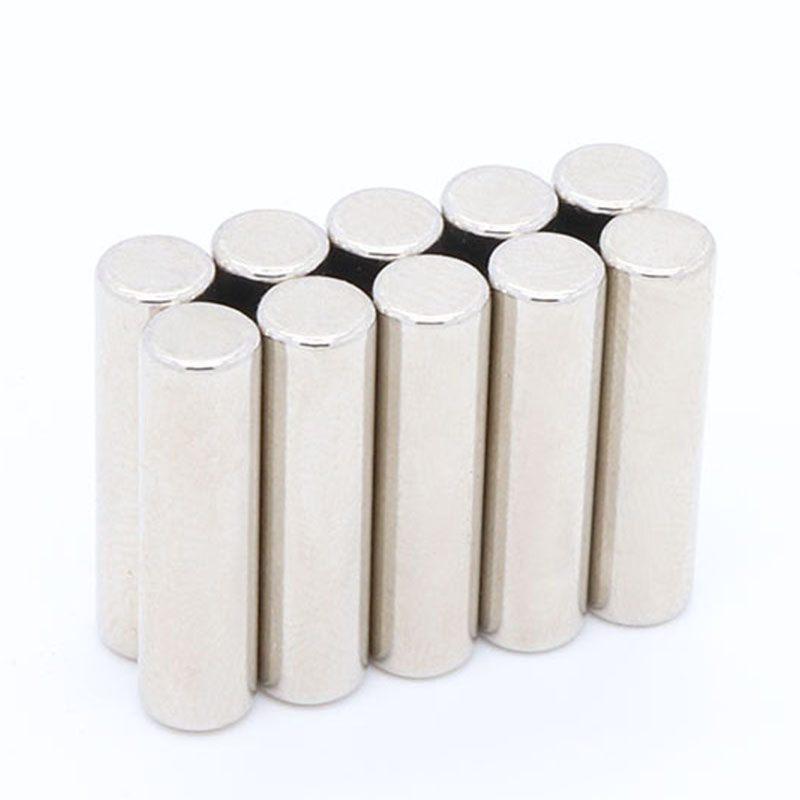 10pcs long cylindrical rod magnet 5 mm x 20 mm rare earth N35 magnet strong magnet neodymium iron boron magnet 5 mm x 20 mm 10050045w cylindrical ndfeb magnet silver 5 pcs