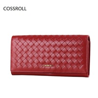 Weaving Pattern Women Wallets Real Leather Wallet Famous Brand Long Kniting Women Purses Genuine Leather Ladies