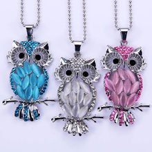 3 sliver girl Jewelry High Quality Owl Snap Pendant Necklace charm Necklaces 60mm For Women Jewelry for women Beautiful romance(China)