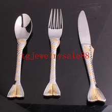 Fashion Silver Gold Tone Fish Pattern Tableware Sets Dinner Service 3pcs/sets Fork/Spoon/Knife Stainless Steel Flatware