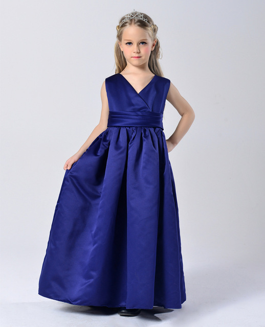 Fashion royal blue girls evening party prom dresses 2016 children ...