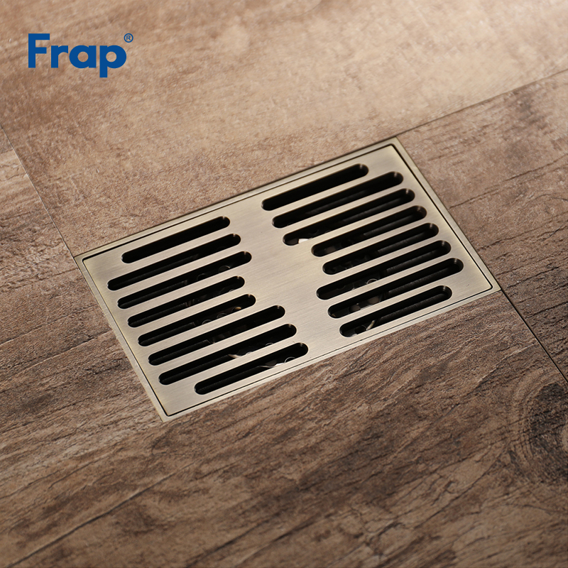 Frap New Shower Drains 140*90cm Square Bath Drains Strainer Hair Antique Brass Bathroom Floor Drain Waste Grate Drain Y38061