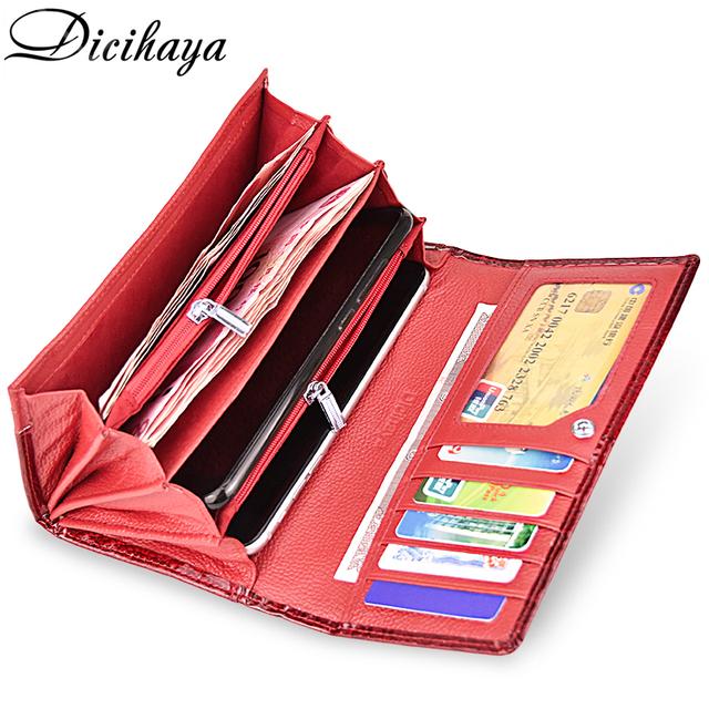 Cartera billetera de cuero genuino para mujer, billetera larga, con doble cremallera para mujer, cartera con diseño de bolso rojo, monederos de cocodrilo