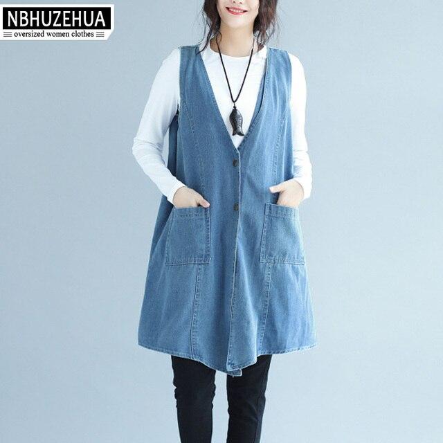 US $37.0 |NBHUZEHUA SY1735 4XL 5XL 6XL Camicia di Jeans da Donna Con Scollo A V Senza Maniche Primavera Autunno Cardigan Plus Size Vintage Top kimono