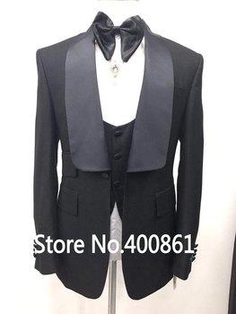 New Arrivals Black Mens Dinner Prom Suits Groom Tuxedos Groomsmen Wedding Blazer Suits (Jacket+Pants+Vest+Tie) K:2739