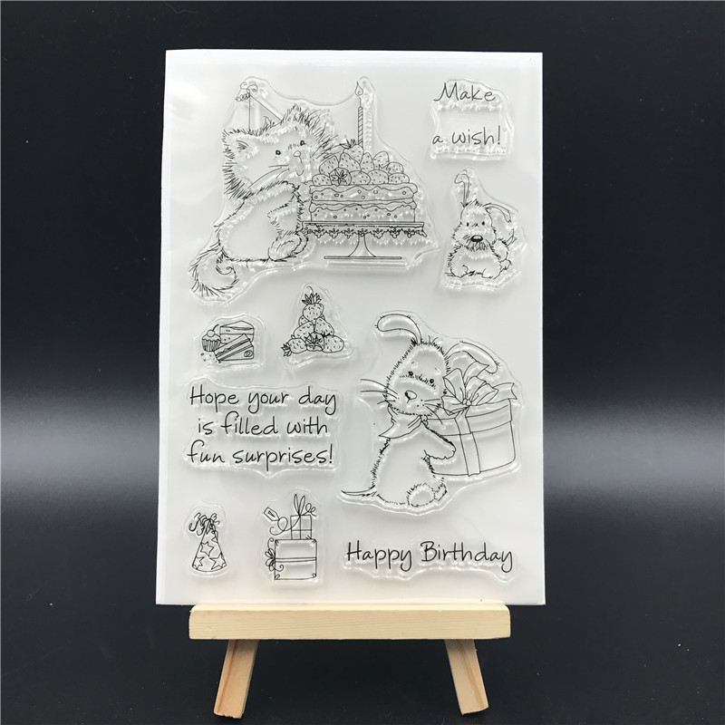 Happy Birthday Transparent Clear Silicone Stamps for DIY Scrapbooking/Card Making/Kids Christmas Fun Decoration Supplies A765 1 sheet happy birthday silicone clear stamps for party decoration rubber stamps for crafts and scrapbooking free shipping 68508