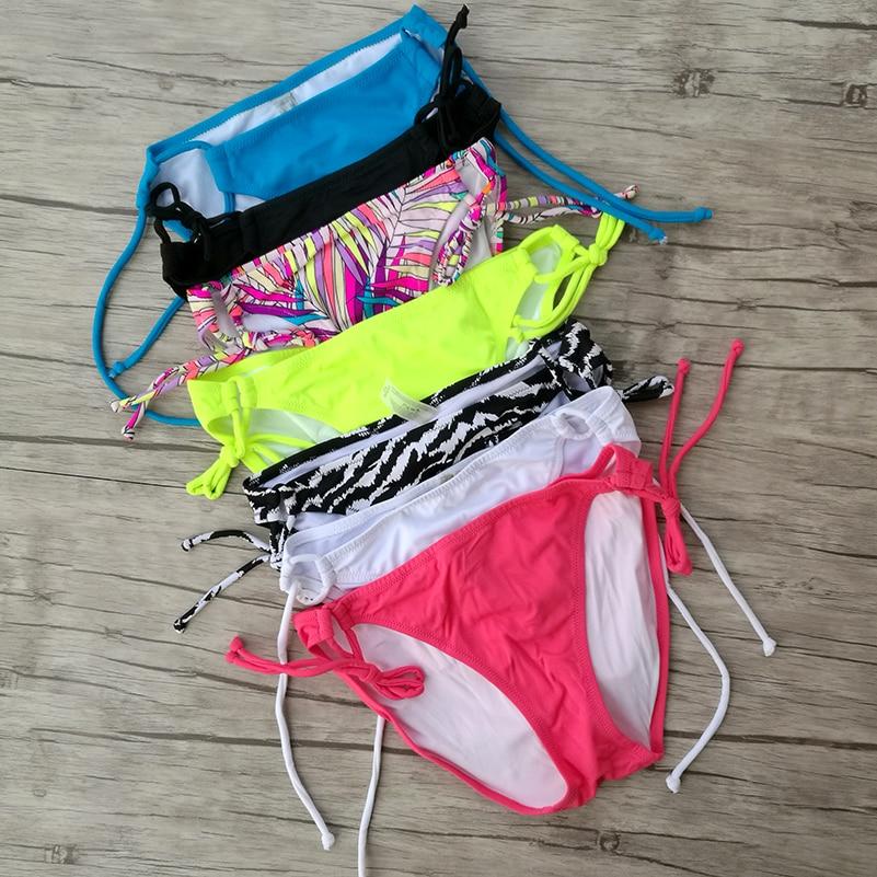 Women Bikini White Bottoms Summer Printing Swimwear Biquini Swim Suit Blue Black Brazilian Sexy Secret Bikinis Bottom 1