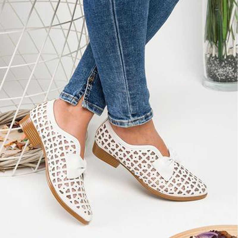 2019 Bowtie รองเท้าผู้หญิง Pointed Toe ปั๊มรองเท้าผู้หญิงลื่นบน Loafers PU หนัง Feminino Zapatos De Mujer