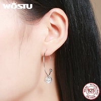 WOSTU 2017 Real 925 Sterling Silver Romantic Bud Love Imitation Pearl Earrings For Women Jewelry Gift