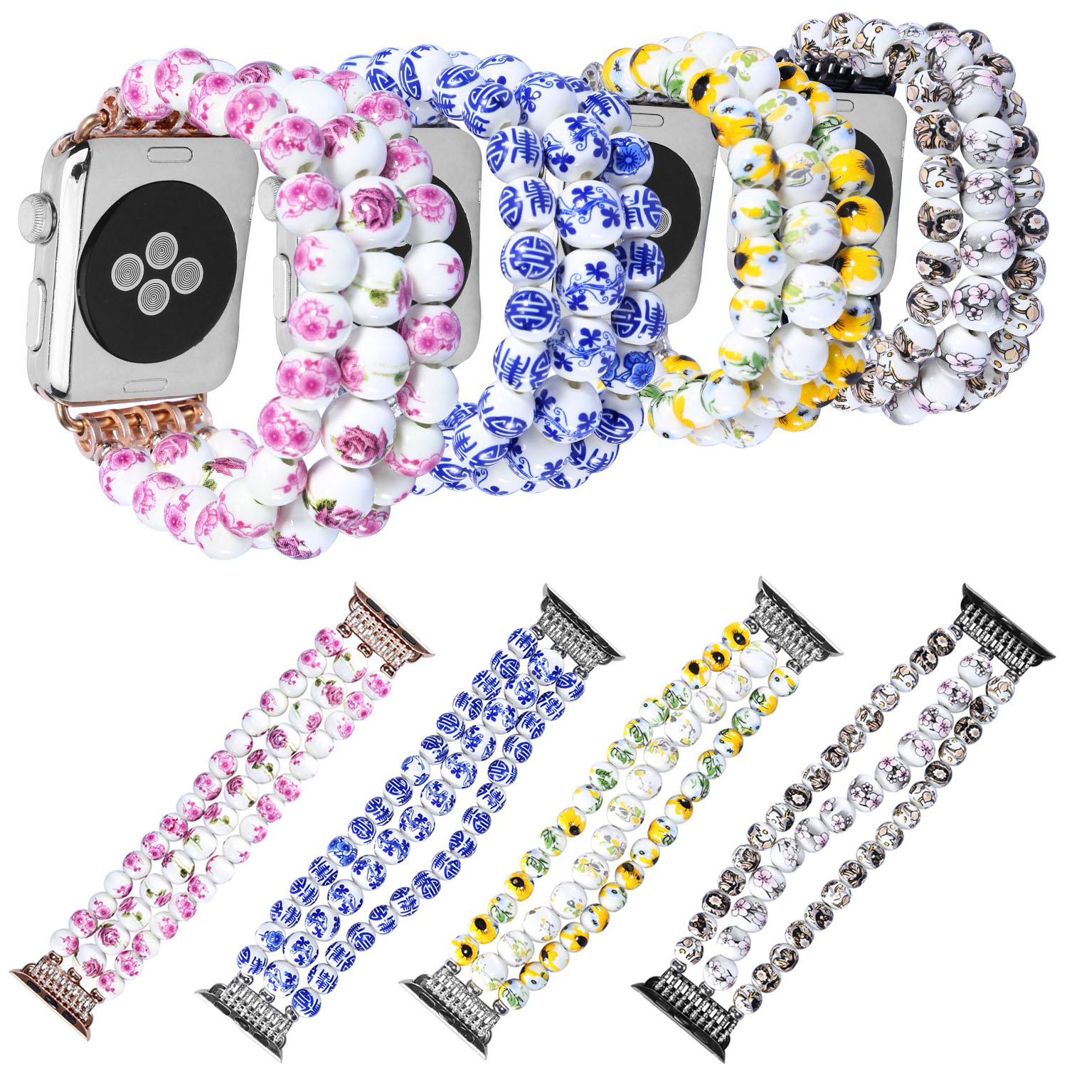 Flower Ceramic Round Beads Stretch Bracelet for Apple Watch Band Series 3 Strap for iWatch Series 1&2 42mm 38mm Watchbands round up 1 2 3