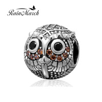 Fit Pandora Bracelets New Owl Beads Original 925 Sterling Silver Charms With Cubic Zirconia Fashion Jewelry