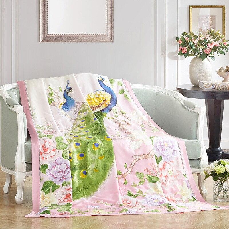 100 Natural Silk European Style Print Thin Throw Single Double Bed Summer Comforter Stiching Duvet Quilt