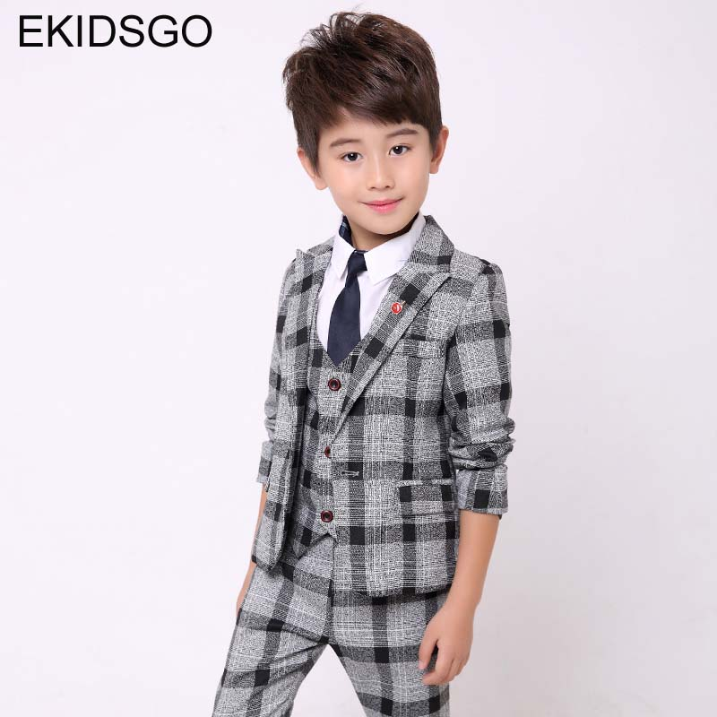 2018 Boys Suits for Weddings Big Boy Blazer Suits Jacket+Blouse+Pants 3 pieces/set Toddler Clothing Set for Party Kids Clothes 2017 big boys blazer suits for weddings 6 14y kids jacket pants 2 pieces set plaid clothes suit children single breasted blazers