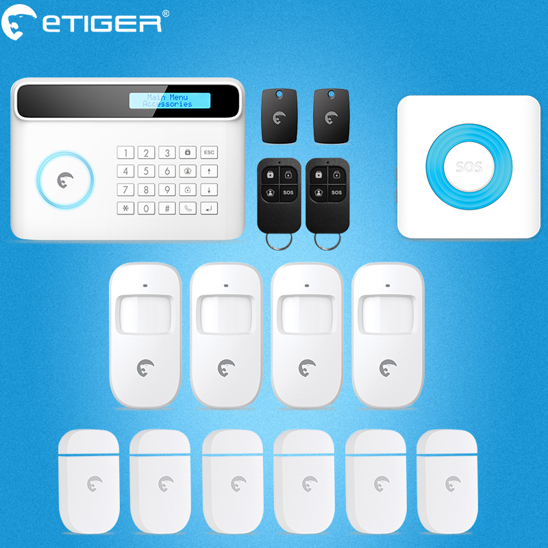 2017 latest best security system for home RFID reading SMS report new etiger S4 gsm alarm