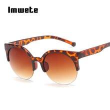 8b84c0182 Imwete Rodada Cat Eye óculos de Sol Metade quadro Óculos de Sol Das Mulheres  Designer De Marca Retro Senhoras óculos de Sol Cate.