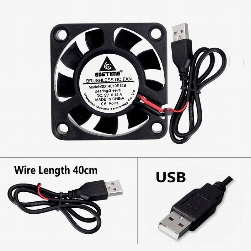 Gdstime <font><b>5V</b></font> <font><b>USB</b></font> <font><b>40mm</b></font> x 10mm 9 Blades Small Brushless DC Cooling Cooler <font><b>Fan</b></font> 40x40x10mm 4010 image