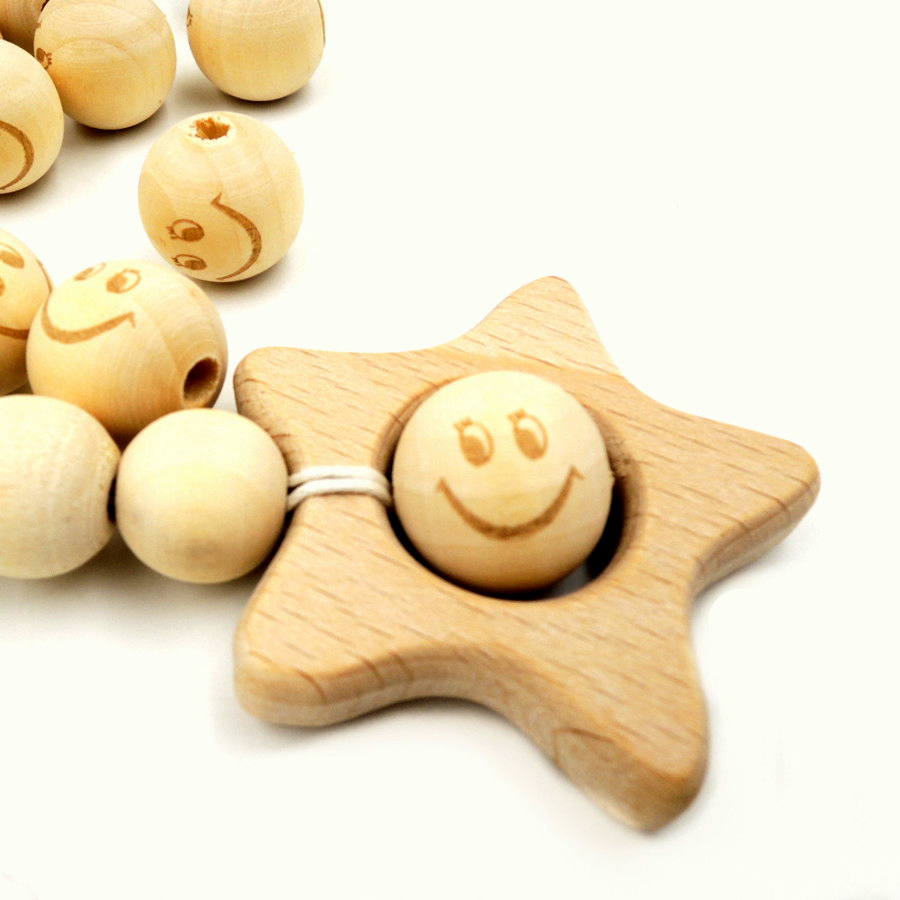 20mm wood bead emoj smile happy BEAD round ball for jewelry shaped burnt engrave diy accessory necklace bracelet EA144-1 ...