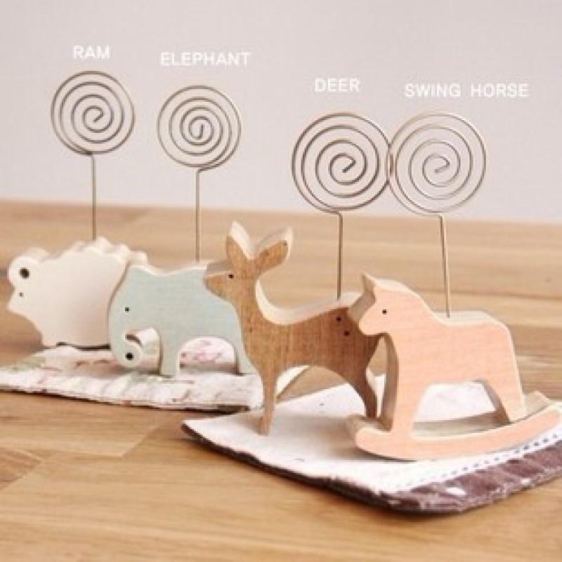 cute cartoon animal lamb elephant deer swing horse wood memo holder wooden cards note holders school stationery supplier