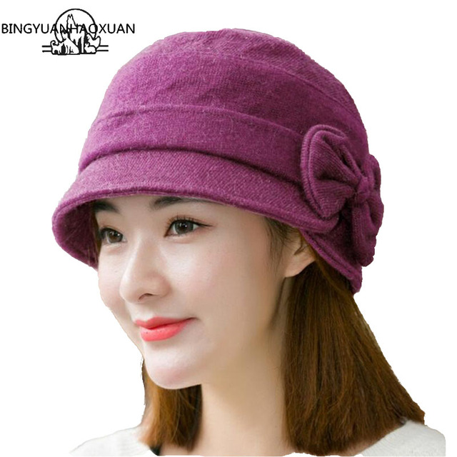 e8303f9516e BINGYUANHAOXUAN 2018 Fisherman Hat Ladies Autumn Winter Bow Cap Wool Rabbit  Blended Knitted Wool Hats Warm