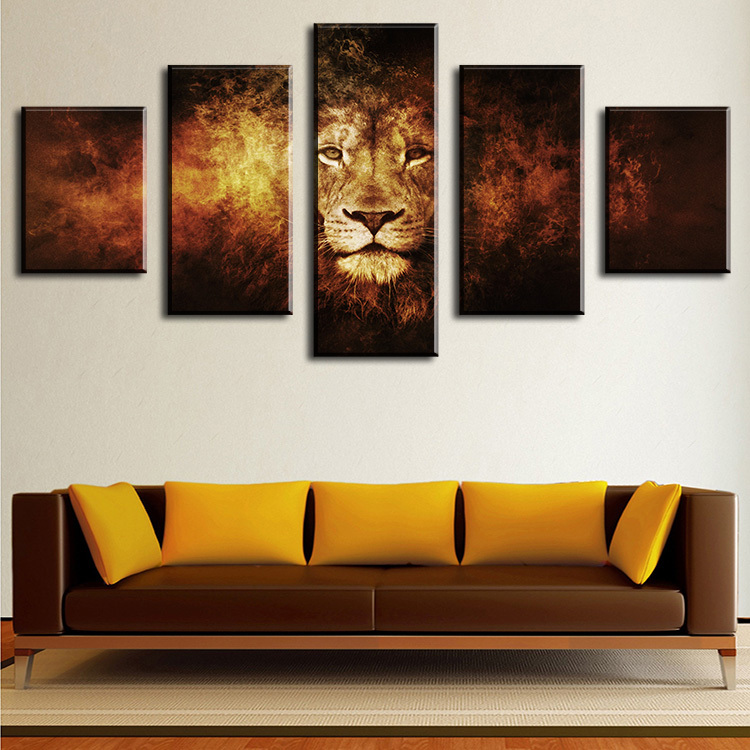 5 piece lion modern home wall decor canvas picture art hd for Modern home decor pieces