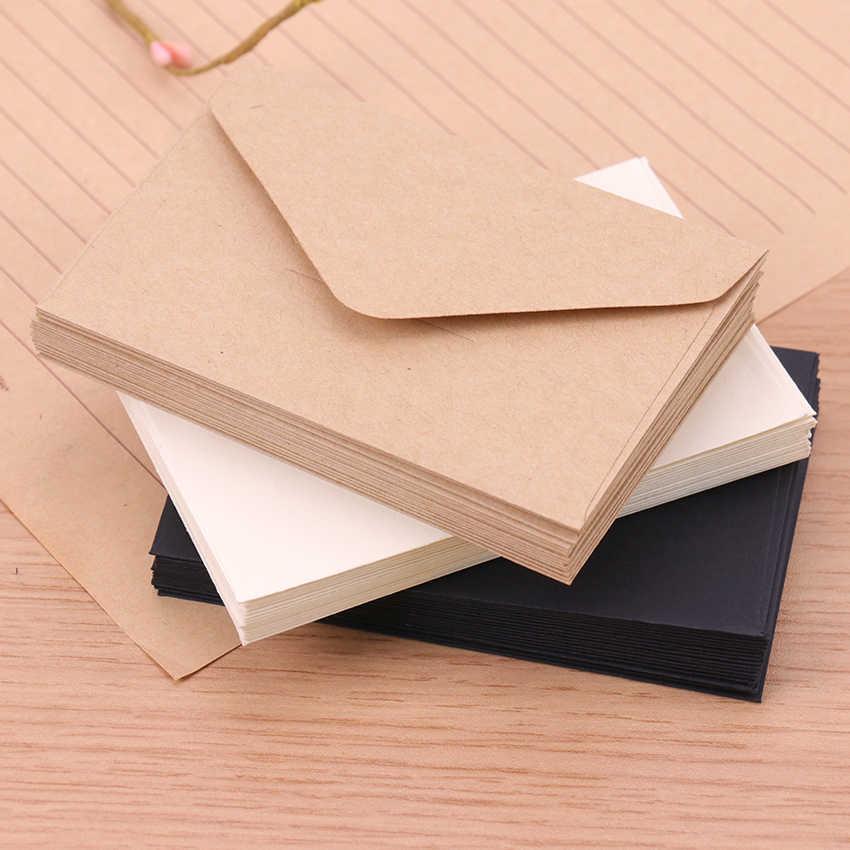20 Pcs Kraft Blank Mini Kertas Amplop Kraft Putih Hitam Kertas Amplop Kartu Pesan Huruf Stasioner Penyimpanan Kertas Hadiah