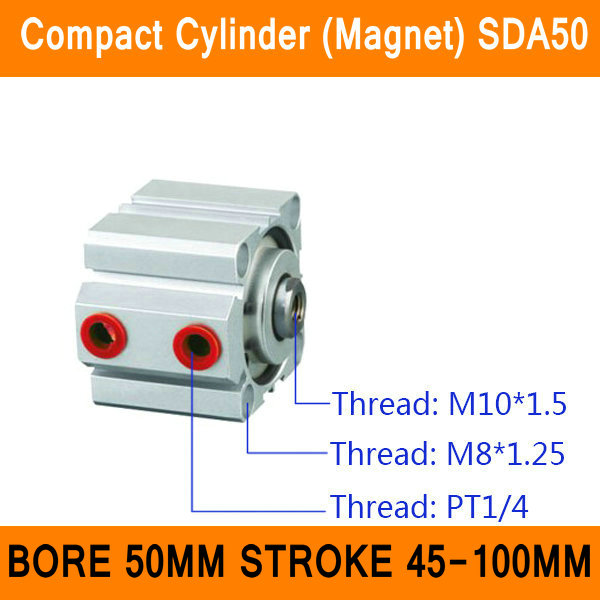 SDA50 Cylinder Magnet SDA Series Bore 50mm Stroke 45-100mm Compact Air Cylinders Dual Action Air Pneumatic Cylinders ISO