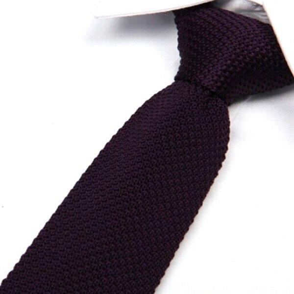 Men Fashion Tie Solid Knit Knitted Tie Plain Necktie Narrow Slim SkinnH Woven Ties H6