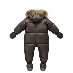 Image 2 - Top Kwaliteit Winter Merk Jas Mode Bruin 9M  36M Baby Jas 90% Eendendons Sneeuw Slijtage Baby jongen Snowsuit Met Natuur Bont Kap