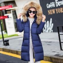 2016 fashion large fur collar winter coat women slim medium-long parka female thickening down jacket ladies plus size outerwear