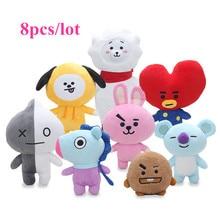 8pcs/lot Kpop BTS BT21 Bangtan Boys Van JUNG KOOK Jimin BT21 Plush Toy Dolls Stuffed Pillow TATA COOKY CHIMMY SHOOKY MANG KOYA