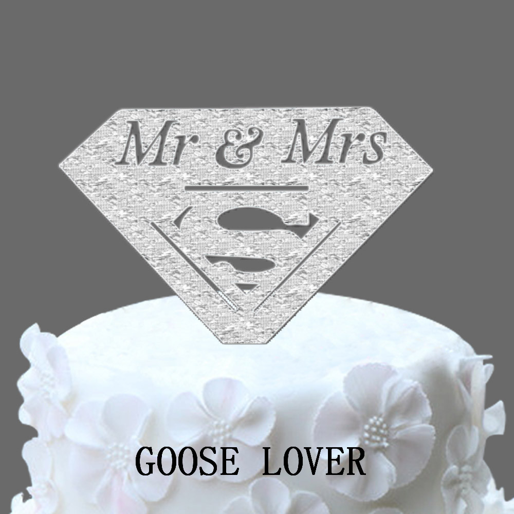 Mr And Mrs Wedding Cake Topper With Superman Logo Topper, Funny Cake ...