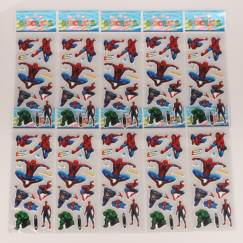 1 6 10 Sheets Avengers Super heroes DIY Stickers Spidermam Captain America Stickers Toys Gifts For