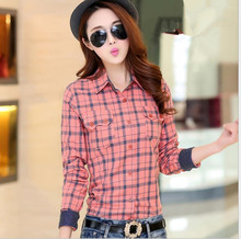 Plus Size Plaid Shirt Women Autumn Korean Style Fashion Collar Long Sleeve Casual Cotton 100%  Blouses Tops Office