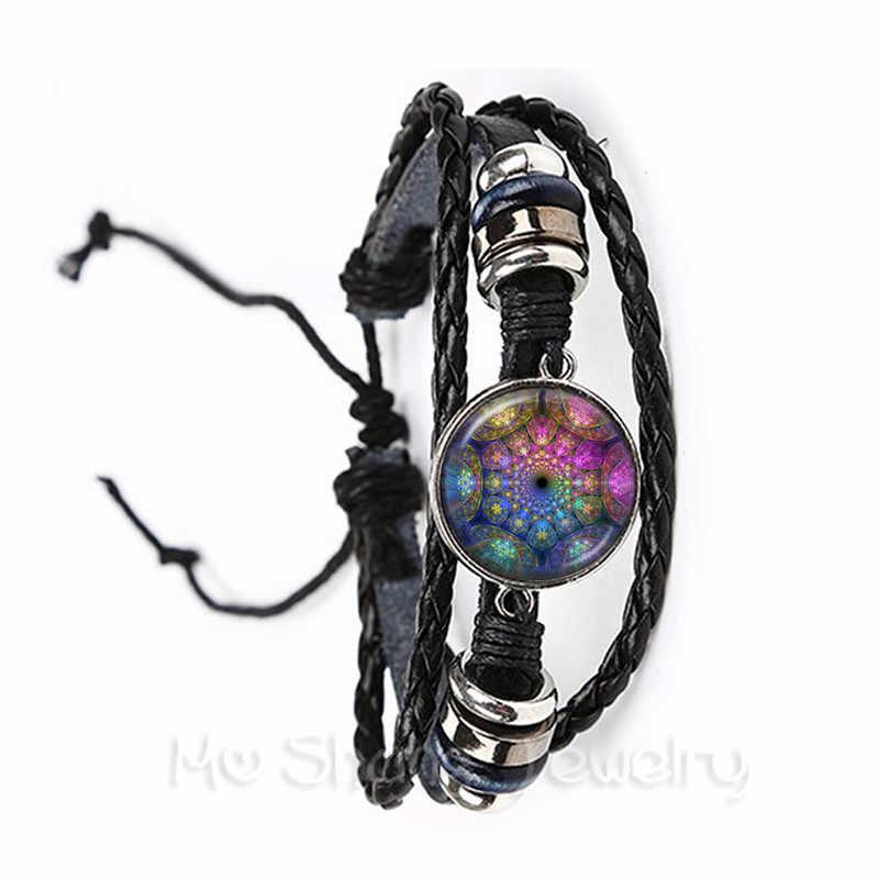 2018 Fashion Purple Kaleidoscopic Art Mandala Bracelet Sacred Geometry Flourish Swirls Fibonacci Spiral Women Jewelry Gift