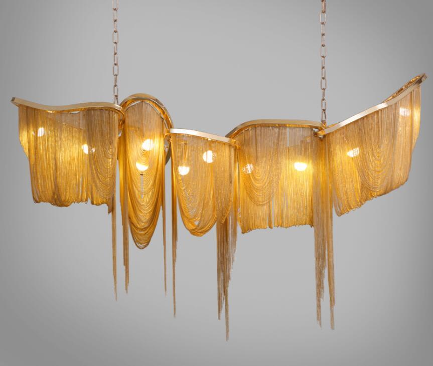 Ny lyxig stor tassel pendellampa LED guld / silver anpassningsbar - Inomhusbelysning - Foto 3