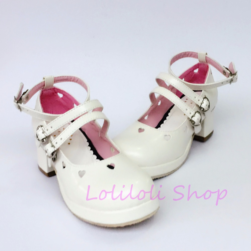 Princess sweet punk shoes loliloli yoyo Japanese design custom big size white bright skin buckle strap high-heeled shoes 9844