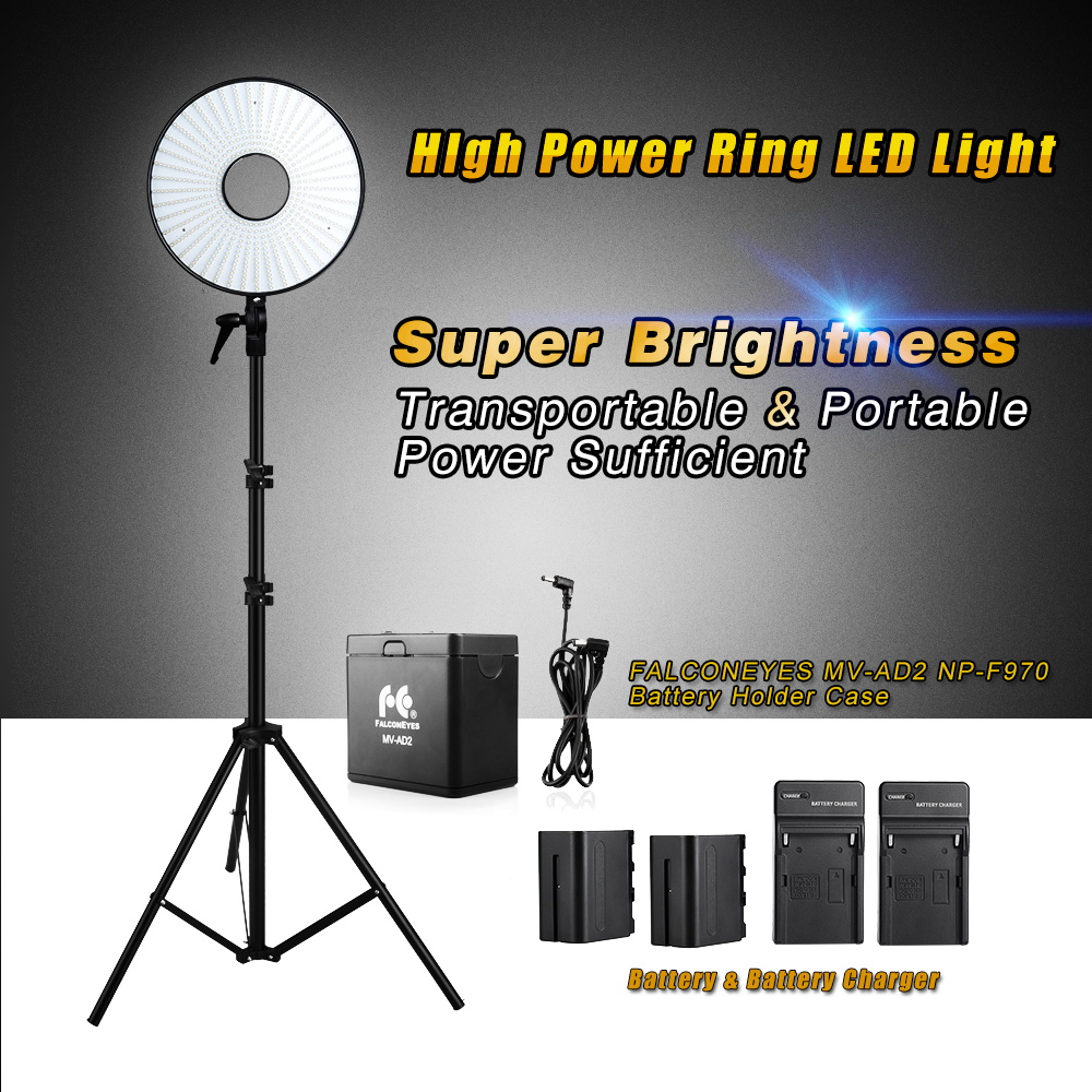 FALCONEYES Super Power 630 LED Ring Light Video Light +Battery  Pack + MV-AD2  NP-F970 Battery Holder +  Light Stands free customs taxes super power 1000w 48v li ion battery pack with 30a bms 48v 15ah lithium battery pack for panasonic cell