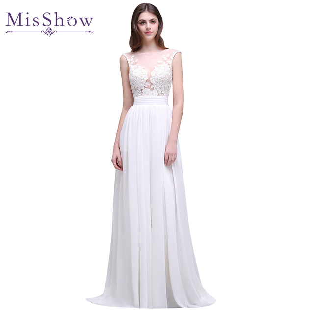 Cheap Wedding Dresses 2018 Summer Chiffon Lace Appliques Sleeveless ...