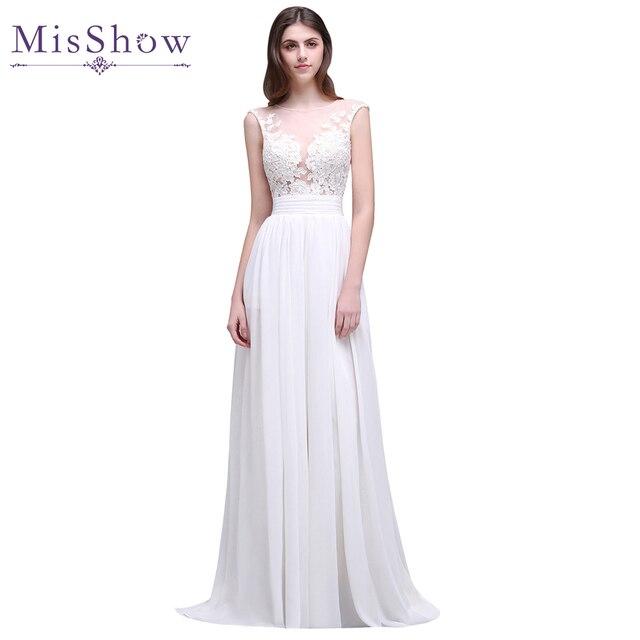 Cheap Wedding Dresses 2019 Summer Chiffon Lace Appliques Sleeveless Bridal  Gowns Long Beach Wedding Dress vestido noiva simples e89c46e10ce7